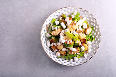 Zucchini, cauliflower and feta salad on plate Stock Photography