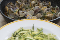 Zucchini and clams Stock Image