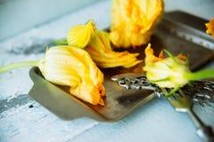 Zucchini com flores Fotos de Stock Royalty Free