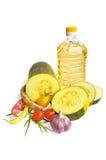 Zucchini com vegetal e petróleo fotos de stock
