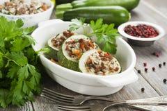 Zucchini con carne e riso Fotografia Stock
