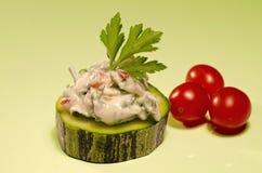 Zucchini con i pomodori Fotografia Stock
