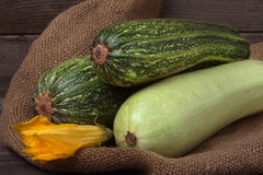 Zucchini and courgette on sackcloth with flower Royalty Free Stock Photos
