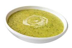 Zucchini or Courgette Soup on White Royalty Free Stock Image