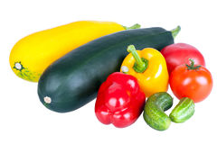 Zucchini courgette, sweet pepper and tomatoes Royalty Free Stock Photo