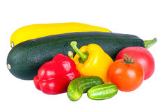 Zucchini courgette, sweet pepper and tomatoes Royalty Free Stock Images