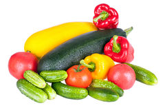Zucchini courgette, sweet pepper and tomatoes Stock Images