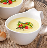 Zucchini cream soup. With garlic and chilli stock images