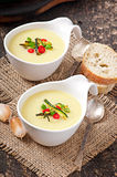 Zucchini cream soup. With garlic and chilli stock photo