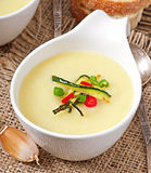 Zucchini cream soup. With garlic and chilli royalty free stock photo