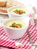 Zucchini cream soup. With garlic and chilli royalty free stock photos