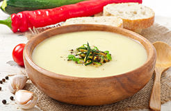 Zucchini cream soup Royalty Free Stock Images