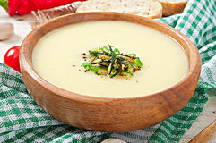 Zucchini cream soup. With garlic and chilli stock image