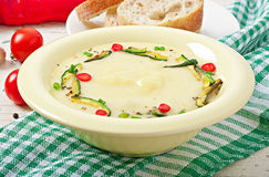 Zucchini cream soup. With garlic and chilli royalty free stock photography