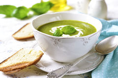 Zucchini creamy soup. Royalty Free Stock Photos