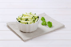 Zucchini cut into strips Stock Photos