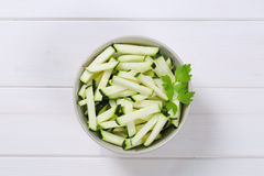 Zucchini cut into strips Royalty Free Stock Images