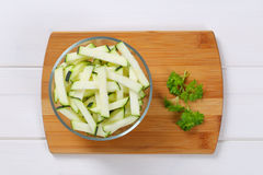 Zucchini cut into strips Royalty Free Stock Photography