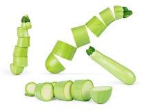 Zucchini della verdura fresca isolato su fondo bianco Fotografia Stock Libera da Diritti