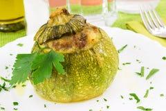 Zucchini enchido com carne Imagem de Stock Royalty Free