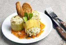 Zucchini enchido com carne Fotografia de Stock