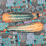 Zucchini on the fabric ornament background Royalty Free Stock Photos