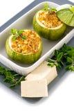 Zucchini farciti con il formaggio del tofu Immagine Stock Libera da Diritti