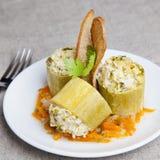 Zucchini farcito con carne Fotografie Stock