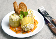 Zucchini farcito con carne Fotografia Stock