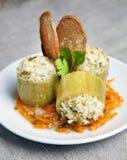 Zucchini farcito con carne Immagini Stock