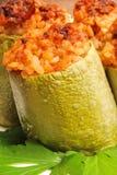 Zucchini farcito con carne e riso Fotografia Stock Libera da Diritti
