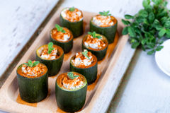 Zucchini Filled With Cheese Stock Photos