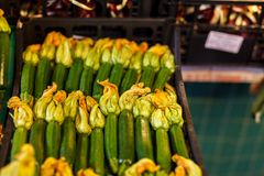 Zucchini flower blossoms in a crate at an Italian farmers market stock image