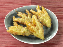 Zucchini flower fritters Stock Photos