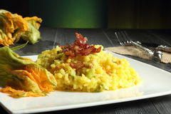 Zucchini flower risotto Royalty Free Stock Image