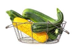 Courgette (zucchini) in basket Stock Image