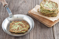 Zucchini fritter. In a pan Stock Photography