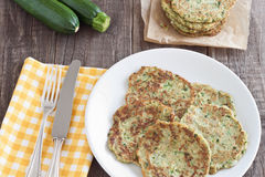 Zucchini fritter. Served on a plate Stock Image