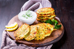 Zucchini fritters with herbs and feta Royalty Free Stock Photo
