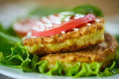 Zucchini fritters with tomatoes. Garlic and herbs royalty free stock photos