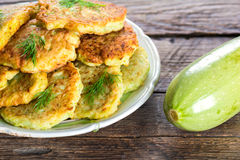 Zucchini fritters. Vegetable food. Zucchini fritters Royalty Free Stock Photos