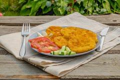 Zucchini fritti Su un vassoio Con le verdure rustic Fotografia Stock Libera da Diritti