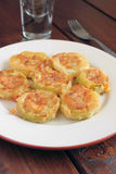 Zucchini fritto con i mezzi molli Fotografia Stock