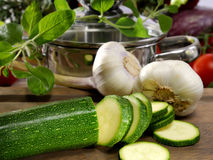 Zucchini and garlic Royalty Free Stock Photo