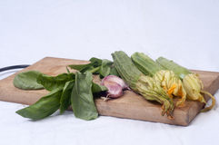 Zucchini, garlic and fresh basil. Zucchini squash with blossoms, garlic cloves and green basil on wooden cutting board stock images