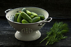 Zucchini on Gray Metal Colander Royalty Free Stock Photos