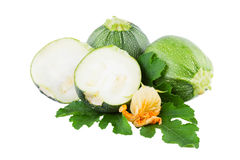 Zucchini green vegetables isolated on white Royalty Free Stock Photography