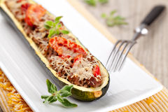 Zucchini halves stuffed with minced meat Stock Image