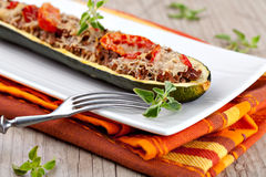 Zucchini halves stuffed with minced meat Royalty Free Stock Photography