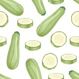 Zucchini isolado no fundo branco Vegetais todo e teste padrão sem emenda das fatias ilustração stock